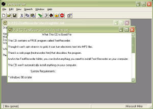 Screen capture of the Text Recorder main window